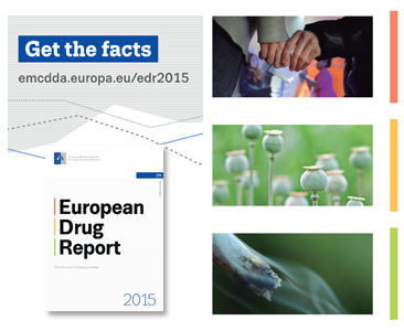 Promotional flyer for European Drug Report 2015
