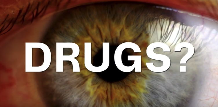 An image of an eye with the word 'Drugs?' appearing on top of it