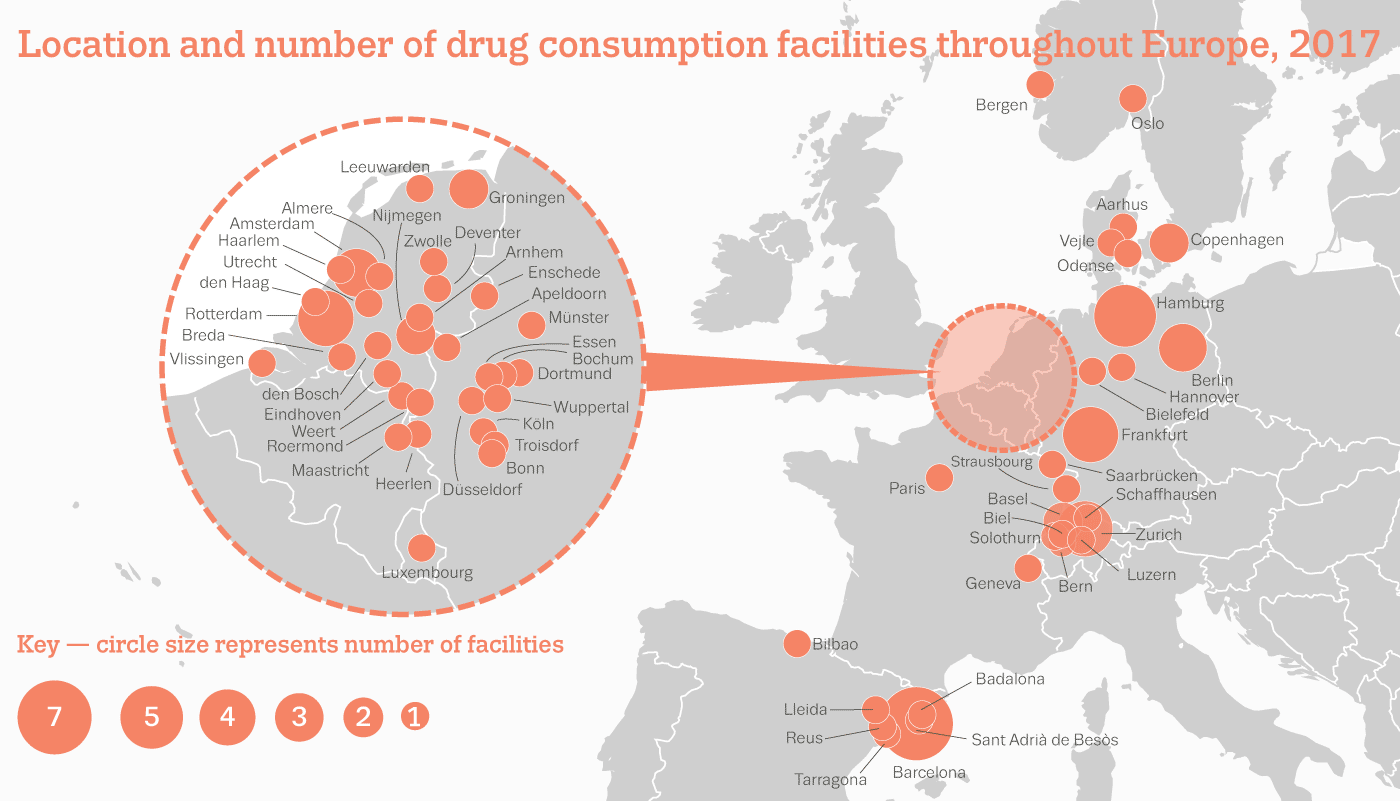 location and number of facilities of drug consumption facilities in Europe 2017