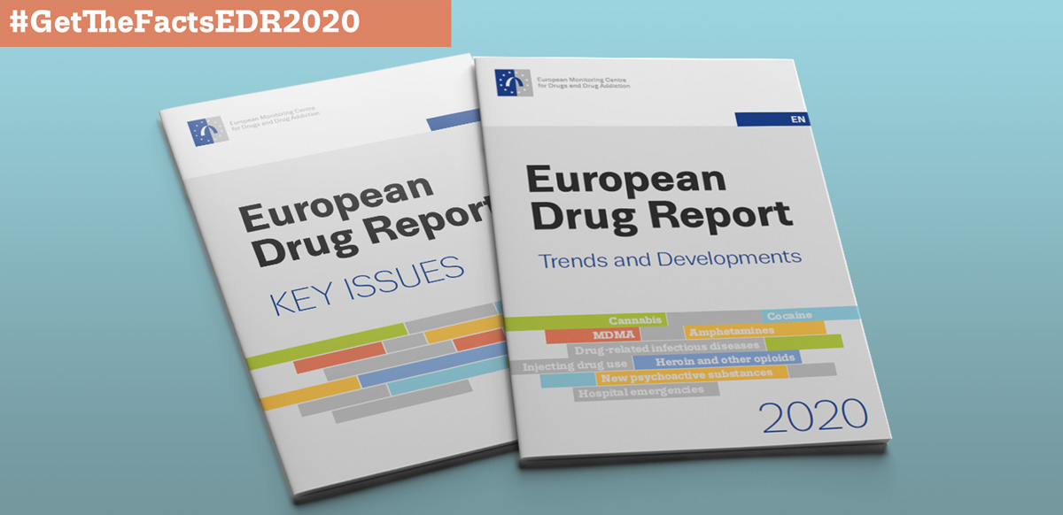 Covers of the European Drug Report 2020 with text that reads #GetTheFactsEDR2020