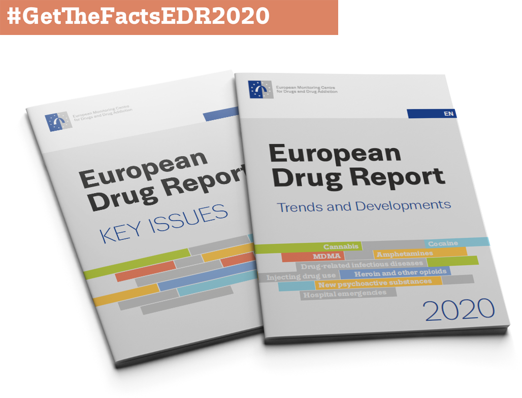 Cover of European Drug Report with hashtag #GetTheFactsEDR2020