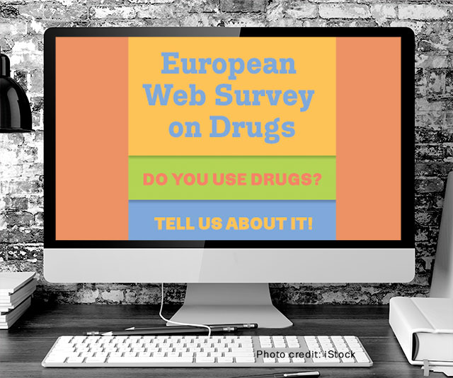 Computer screen showing a banner about the European Web Survey on Drugs