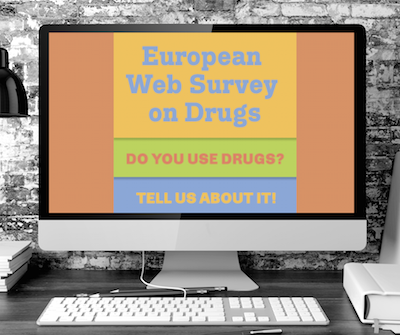 Computer screen showing banner from European Survey on Drugs