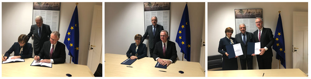 three photos from EMCDDA-Europol signing ceremony, Brussels, December 2018