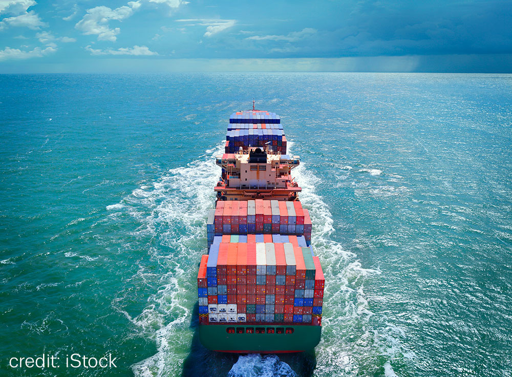 Image of cargo container ship at sea