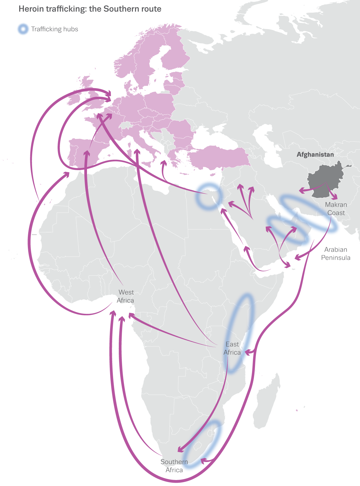 Map showing Southern route for trafficking heroin to Europe