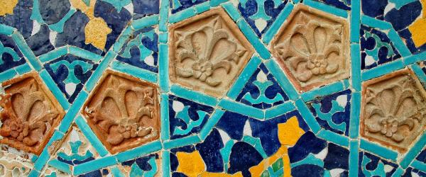 fragments of tiles in wall