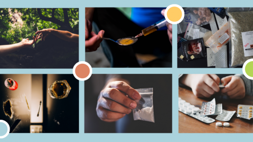 collage of six photos 1 - two hands holding cigar 2 - neddle and spoon 3 plastic bags with drugs 4 - cup with drink and mirror with line of drug 5 - hand holding a plastic bag with white powder 6 - hands holding blisters with pills