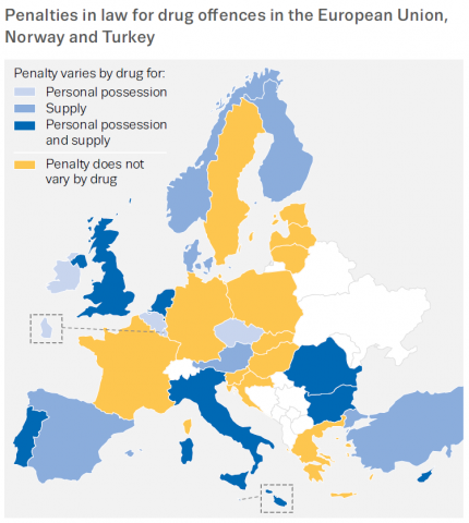 Figure: Penalties in law for drug offences in the European Union, Norway and Turkey