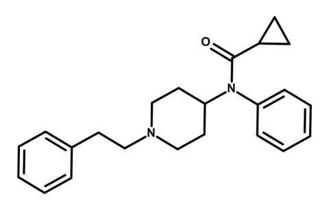 Molecular structure of cyclopropylfentanyl