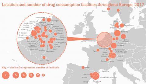 Location and number of drug consumption room facilities throughout Europe