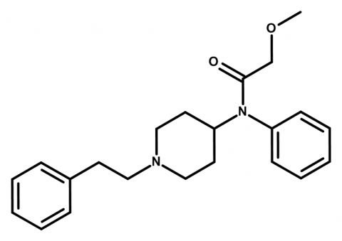 Molecular structure of methoxyacetylfentanyl
