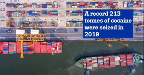 Image of a port with container ships seen from top with the text 'A record 213 tonnes of cocaine were seized in 2019'