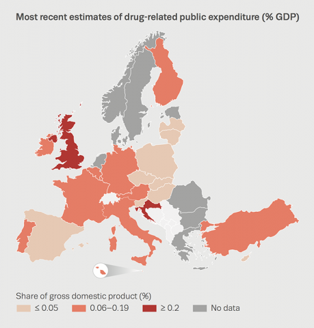 Chart showing most recent estimates of drug-related public expenditure (% GDP)