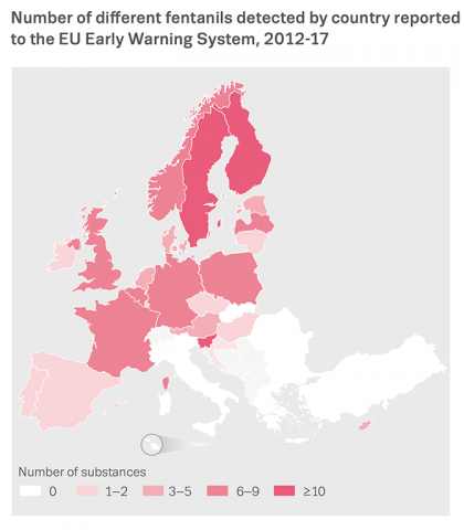 Chart showing number of different fentanils detected by country reported to the EU Early Warning System, 2012-17