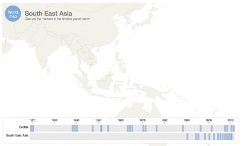 Map showing methamphetamine global timeline: South East Asia