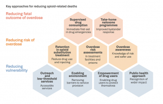 Chart showing key approaches for reducing opioid-related deaths