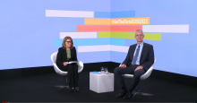 Video screenshot of the press conference on occasion of the European Drug Report launch with Kathryn Robertson, Media relations, and EMCDDA Director Alexis Goosdeel seated in the launch studio.