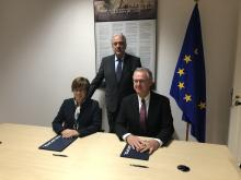 Left to right: Europol Director Catherine de Bolle, European Commissioner for Migration, Home Affairs and Citizenship Dimitris Avramopoulos, EMCDDA Director Alexis Goosdeel