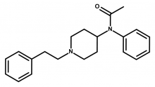 Molecular structure of acetylfentanyl