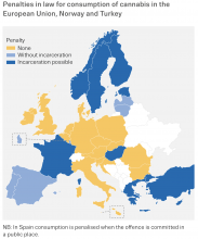 Map showing penalties in Europe for cannabis use