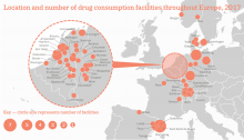 Chart showing location and number of drug consumption facilities throughout Europe, 2017