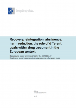 Recovery, reintegration, abstinence, harm reduction: the role of different goals within the drug treatment in the European context Cover