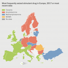 frequently seized stimulant drug in europe