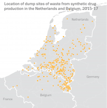 Map showing the location of dump sites of waste from synthetic drug production in the Netherlands and Belgium, 2015-17