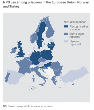 Chart showing NPS use among prisoners in the European Union, Norway and Turkey