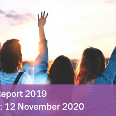 ESPAD Report 2019 launch image — three young women raising their hands skywards