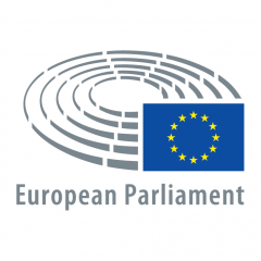 logo of the european parliament with eu flag and grey circle lines