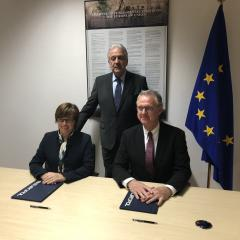 Left to right: Europol Director Catherine de Bolle, European Commissioner for Migration, Home Affairs and Citizenship Dimitris Avramopoulos, EMCDDA Director AlexisGoosdeel