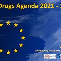 blue backgroun with eu yellow stars and the information eu drugs agenda 2021-2025 webinar 24 March 2021 13.00 cet