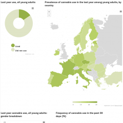 Some key cannabis prevalance use data for young adults in Europe. Less than 20% have used cannabis in the last year. There are wide variations between countries, from 2% to over 20%. More men report using than women. Frequency of use varies widely.