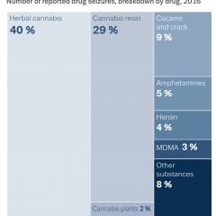 Chart showing number of reported drug seizures, breakdown by drug, 2016