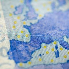 close-up of a Euro note