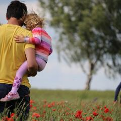 man in his back holding two children in a poppy field