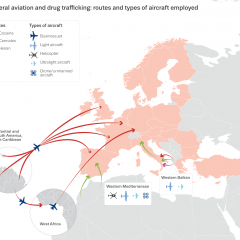 Map or Europe showing general aviation and drug trafficking: routes and types of aircraft employed