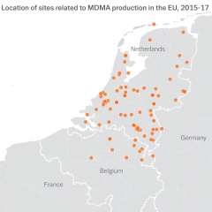 Map showing the location of sites related to MDMA production in the EU, 2015-17