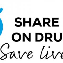 drawing of a blue light bulb with this year's sentence theme share facts on drugs save lives