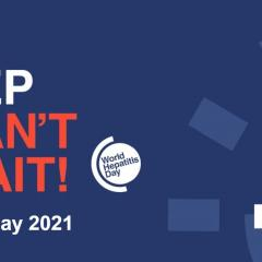 world hepatitis day 2021 theme hep can't wait in blue and white fonts in dark blue background
