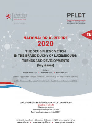 Cover of report — national drug report 2020 of Luxembourg