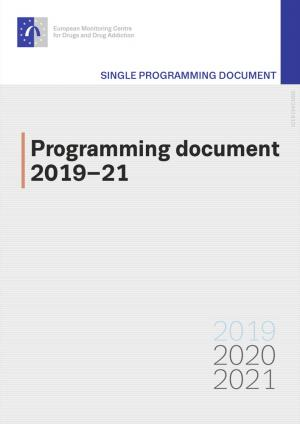 Cover page of the Programming document 2019-21