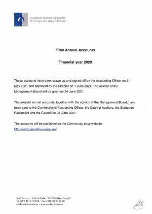 Cover of 2020 annual accounts publication