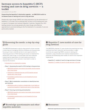Screenshot of the HCV toolkit page