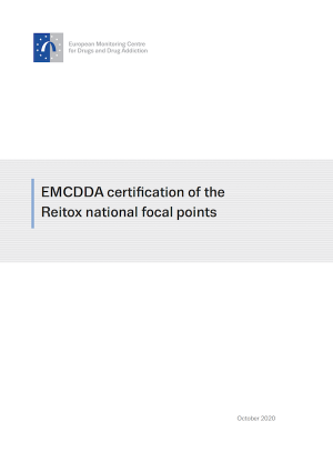 Cover page of the EMCDDA reitox certification document — shows EMCDDA logo and document title: EMCDDA certification of the Reitox national focal points