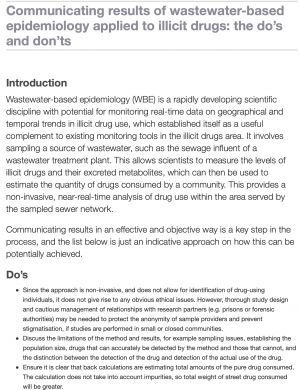 Screenshot of publication in HTML format. Titles says 'Communicating results of wastewater-based epidemiology applied to illicit drugs: the do's and don'ts'